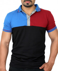Black Multi Panel Designer Polo Shirt