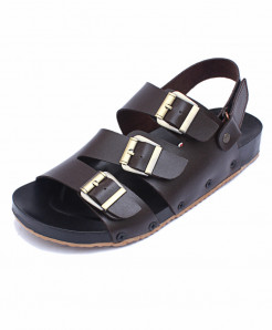 Choco Brown Tri Buckle Straps Casual Sandal