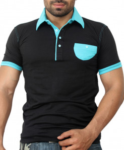 Black Blue Dual Collar Flap Pocket Designer Tee