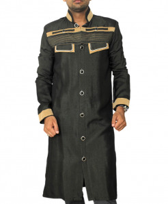 Coal Black Flap Pocket Sherwani Style Kurta AR-7763