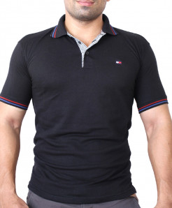 Tommy Hilfiger Logo Black Polo-Shirt TM-324