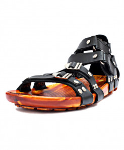 Black Stylish High Ankle Double Strap Casual Sandal RF-1019