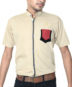 Beige With Red Contrast Half Sleeve Shirt
