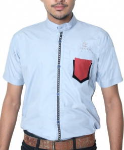 Sky Blue With Red Contrast Half Sleeve Shirt LE-980