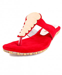 Red Fancy Suede Casual Slipper RG-250c