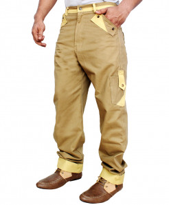 Khaki Contrast Pocket Cargo Trousers TK-226