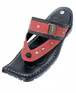 Brick Red Stylish Stitched Flexible Side Buckle Slipper CR-5070