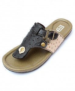 Black And Army Green Flip Flop Side Buckle Stylish Slipper CR-5223