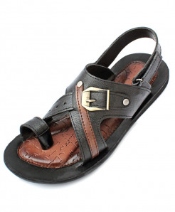 Black Toe Loop Buckle Strap Design Casual Sandal CR-5230