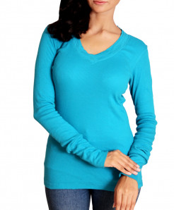 Turquoise long Sleeve Ladies T-Shirt