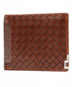 Bovis Dark Brown Box Check Stylish Wallet BA007