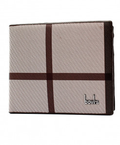 Bovis Beige Checkered Stylish Wallet XH-1814