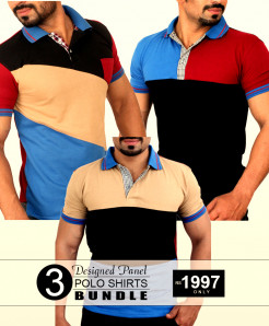 3X Designed Panel Polo Shirts