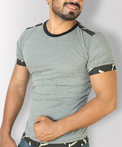 Grey With Black Contrast Stylish T-Shirt QZS-012