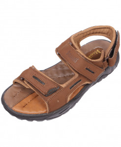 Brown Double Strap Leather Sandal LS-1005