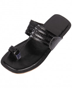 Black Stylish Kolhapuri Slipper OM-5060