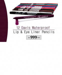 12 Davis Waterproof Lip and Eye Liner Pencils