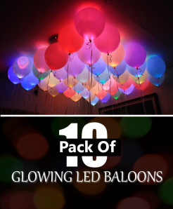 Pack Of 10 LED Glowing Balloons
