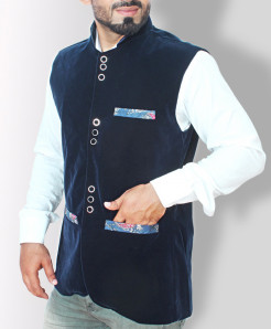 Navy Blue Velvet With Print Pocket Stylish WaistCoat QG-032