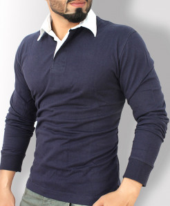 Navy Blue With White Collar Long Sleeve Sweat Shirt