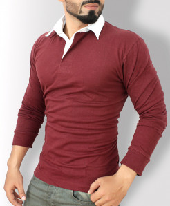Maroon With White Collar Long Sleeve Sweat Shirt