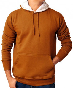 Brown Winter Fashion Plain Fleece Kangaroo Hoodie