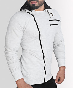 Ash Grey High Collar Fleece Contrast Zipper Mock
