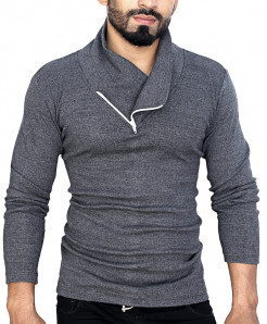Charcoal Pannel Zipper Sweat Shirt