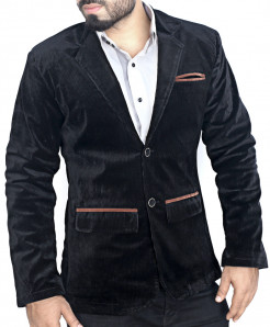 Black Corduroy Brown Tipping Flap Pockets Stylish Blazer