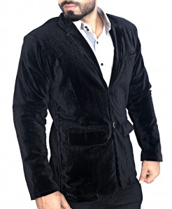Black Corduroy Slim Fit Stylish Blazer