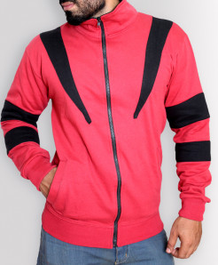Red With Black Patches Slim Fit Fashion Fleece Zipper Mock