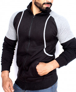 Black With Heather Grey Contrast Slim Fit Fashion Zipper Mock