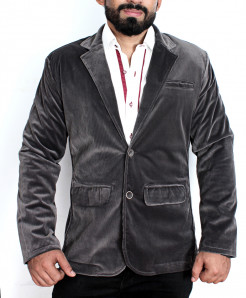 Grey Shaded Corduroy Slim Fit Stylish Blazer