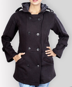 Black Peacoat Style Ladies Pullover Hoodie