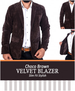 Choco Brown Slim Fit Stylish Velvet Blazer Deal
