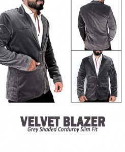 Grey Shaded Corduroy Slim Fit Stylish Blazer Deal