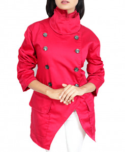 Fuschia Drill Cotton Slim Military Style Ladies Coat