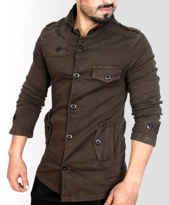 Choco Brown High Collar Slim Fit Fashion Blazer