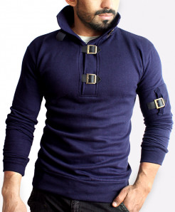 Tri Buckle Strapes Navy Blue Fleece Winter Mock
