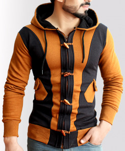 Celio Loop Brown Black Contrast Zipper Fleece Hoodie