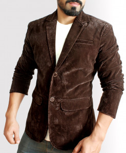 Choco Brown Slim Fit Stylish Velvet Blazer