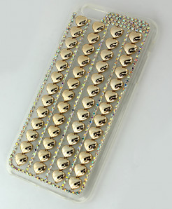 Iphone 6 Plus Golden Heart Shape Diamante Case