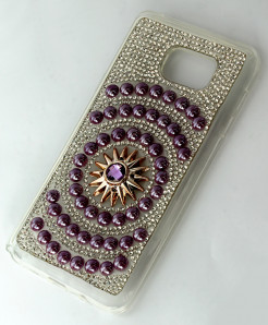 Samsung Galaxy S6 Edge Purple Beads And Diamante Case