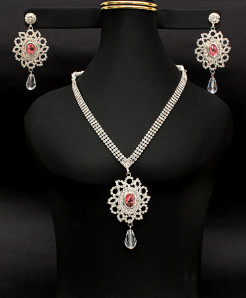Flower Shape With Padparadscha Color Stone Jewelry Set