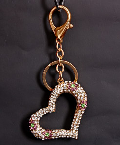 Fashion Crystal Heart Shape Alloy Keychain Holder KC-4