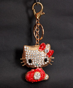 Fashion Crystal Cat Shape Alloy Keychain Holder KC-6