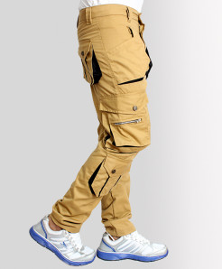 Khaki 7 Tipping Pocket Narrow Cargo Trousers TK-3316