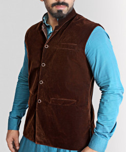 Choco Brown Velvet Stylish WaistCoat