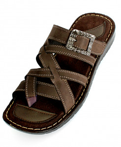 Choco Brown Thumb Cross Strap Leather Sandal NCP 027