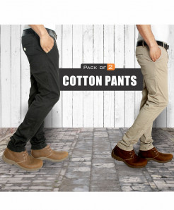Pack Of Two Black And Khaki Cotton Pants